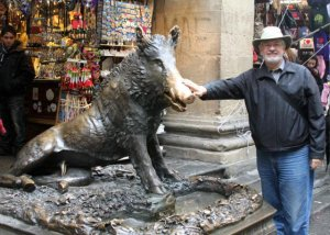 Alan rubbing the snout of Il Porcellino, Florence.