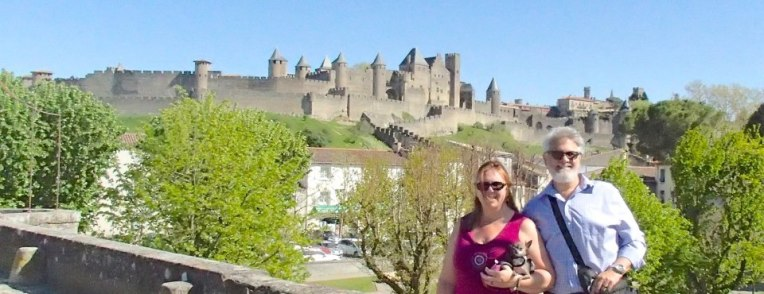 Tracy, Alan, and Kiara in front of le Cité de Carcassonne