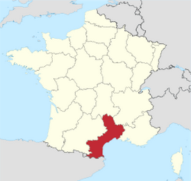 Languedoc-Roussillon Region in red. (Wikipedia Commons)