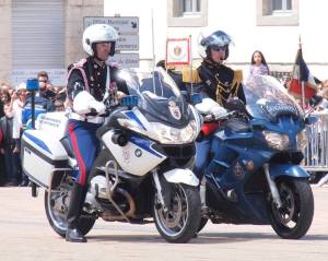Monégasque Carabiniers on white bike and French Gendarmerie on blue bike