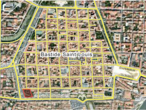 Location of the Jardin du Calvaire within Carcassonne's Ville Basse