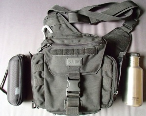 5.11 Tactical PUSH (Practical Utility Shoulder Hold-all) Pack with Sunglasses and water bottle