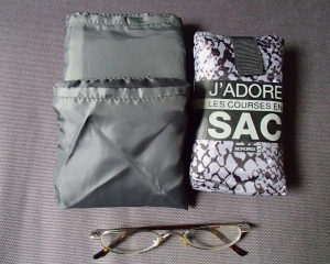 Shopping bags and Tracy's reading glasses