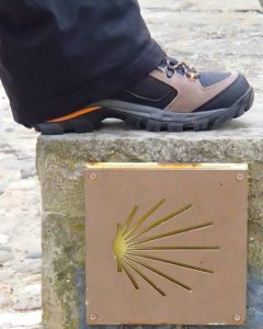 Tracy's boot over the scallop shell sign marking the Camino