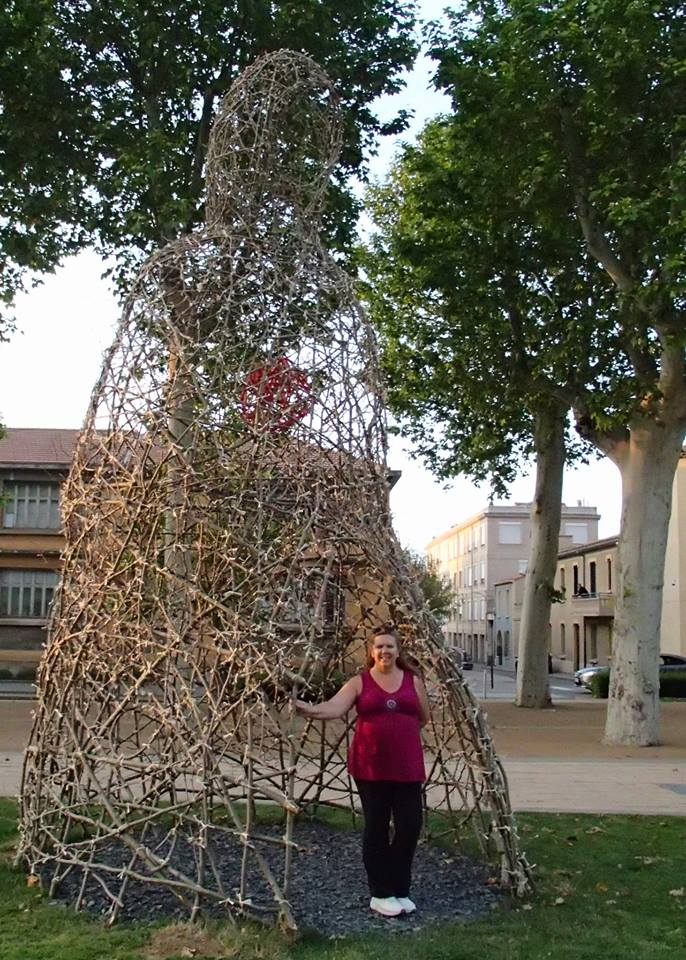 """Tracy with one of the  """"Invités du Coeur"""" (""""Guests of the Heart"""") Marc Walter sculptures in Square Gambetta"""