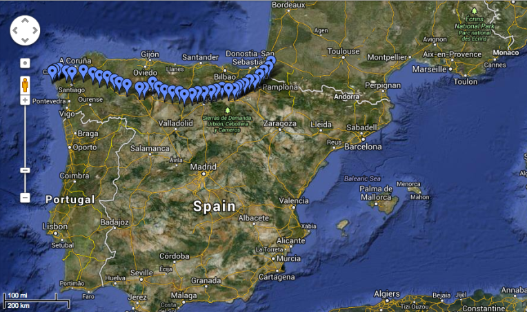Camino de Santiago - The French Route (Google Maps)