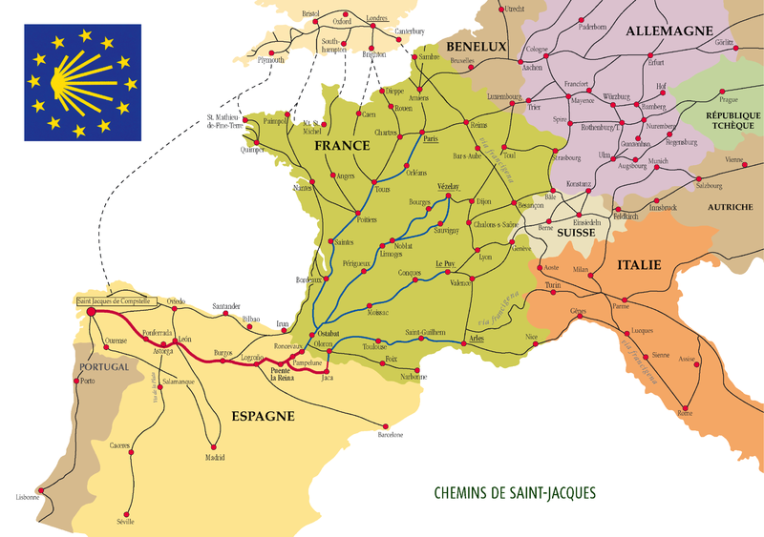 Map of Camino de Santiago - Chemins de Saint Jacques  From Wikimedia Commons