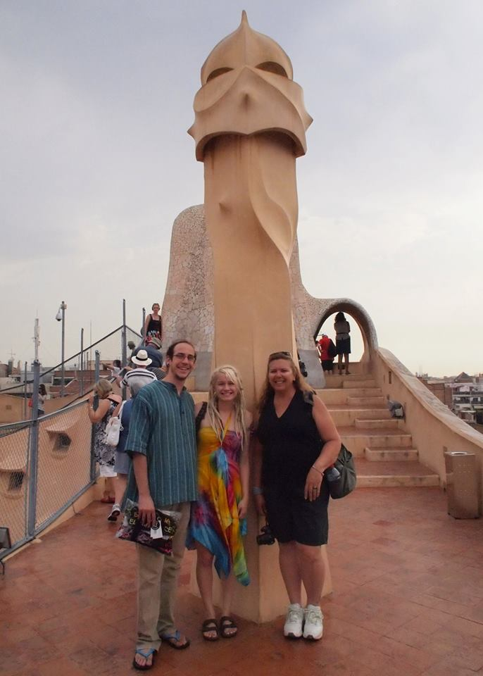 Adam, Liz, and Tracy on the roof of Casa Milà, better known as La Pedrera