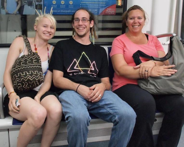 Liz, Adam, and Tracy on the Barcelona subway