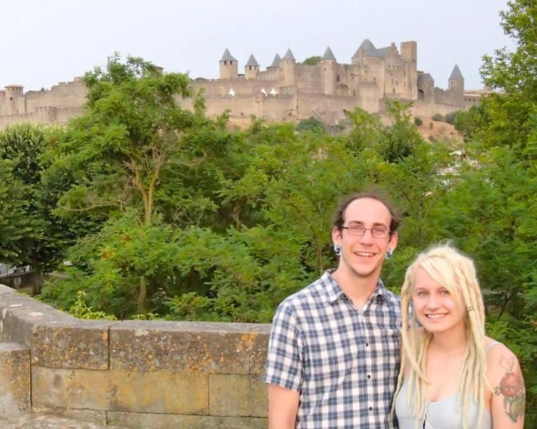 Adam and Liz in front of the medieval city la Cité de Carcassonne