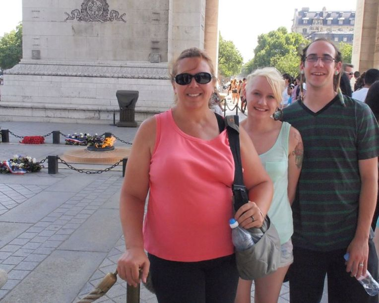 Tracy, Liz, and Adam under the Arc de Triomphe and in Front of the Tomb of the Unknown Soldier