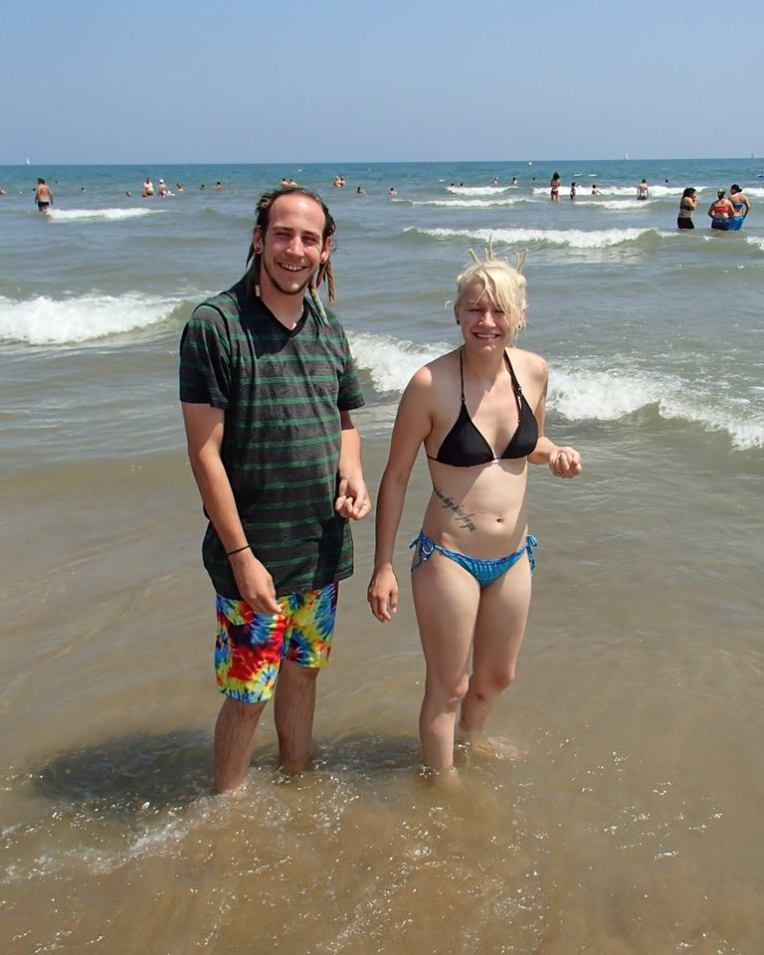 Adam and Liz enjoying the Mediterranean Sea at Narbonne Plage