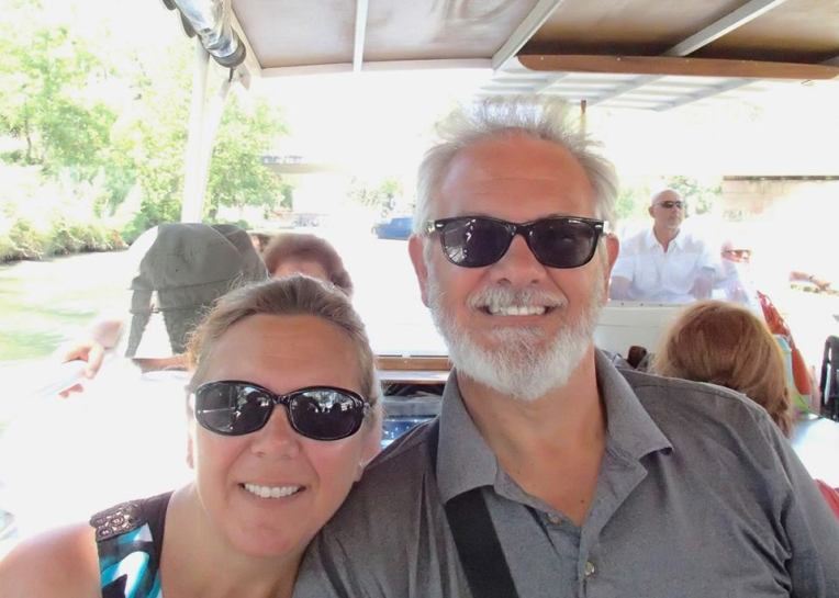 Tracy and Alan having fun on a barge cruise on the Canal du Midi