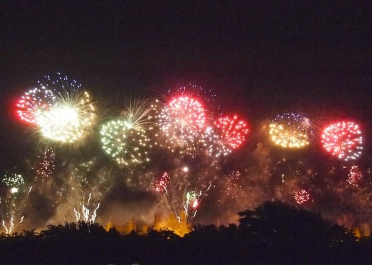 Fireworks over the medieval city of la Cité de Carcassonne