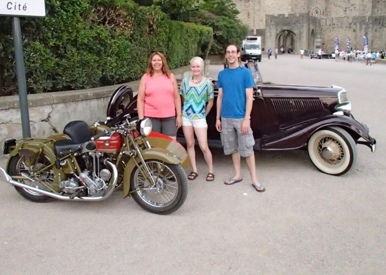 Tracy, Liz, and Adam at the 25ème Tour de l'Aude des Voitures Anciennes en Pays Cathare (25th Annual Tour de l'Aude Vintage Car Rally.)