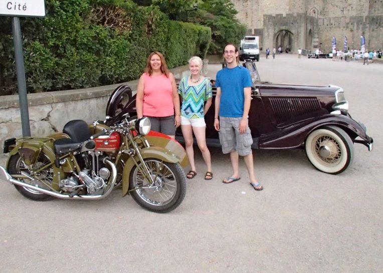 Tracy, Liz, and Adam at the 25ème Tour de l'Aude des Voitures Anciennes en Pays Cathare (25th Annual Tour de l'Aude Vintage Car Rally.)