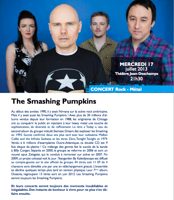 Smashing Pumpkins' program page for Festival de Carcassonne