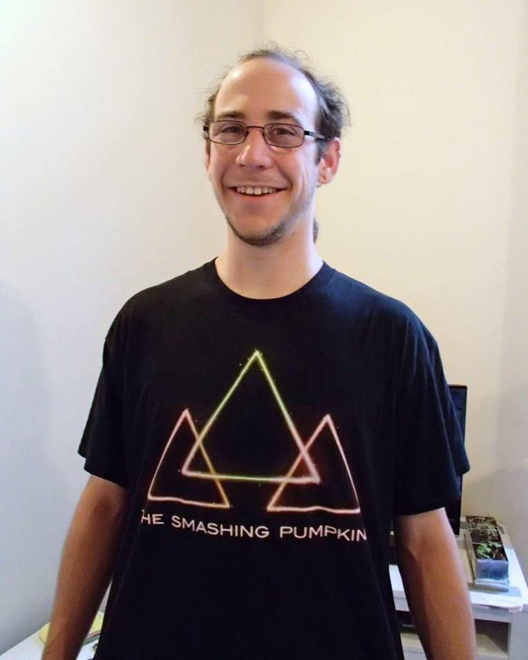 """Adam in a Smashing Pumpkins' """"Shamrocks and Shenanigans"""" tour shirt"""