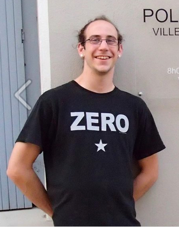 Adam wearing his Smashing Pumpkins' Zero shirt