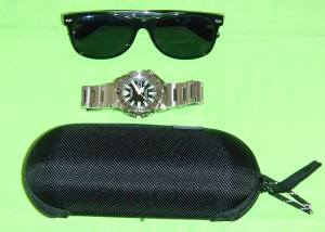Ray-Ban Wayfarer, Seiko Black Monster, Hazard 4 Case