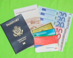 Passport, Camino credencial, cash, credit cards