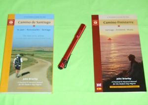 A Pilgrim's Guide To The Camino de Santiago, St. Jean - Roncesvalles - Santiago (2015 Edition) and A Pilgrim's Guide to the Camino Finisterre, Santiago - Finisterre - Muxia by John Brierley guidebooks and Streamlight Stylus Pro LED Flashlight