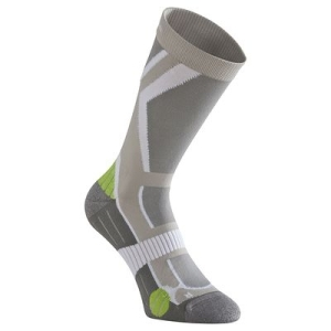 Forclaz 500 High Socks, Hiking Socks, Light Grey/Green by Quechua