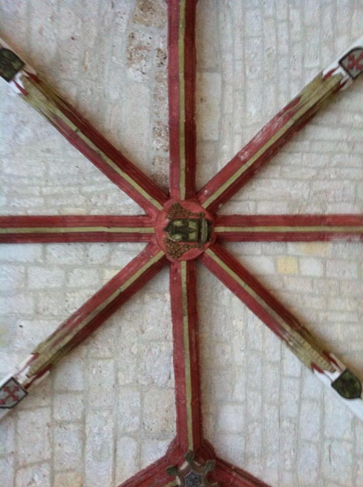 Painted cross-rib vault of the church of the Augustinian Monastery, 12th century, San Juan de Ortega