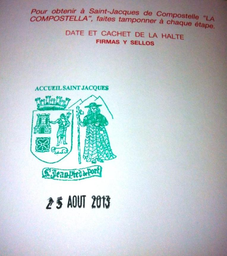 First stamp in our Camino credentials.