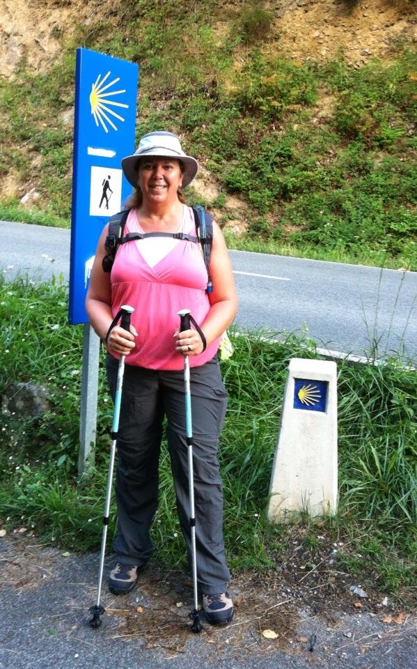 Tracy at our first cement markers leading us off the N-135 into Ganecoleta