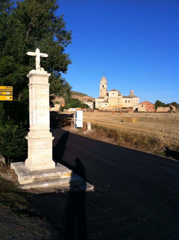 Entering Castrojeriz, Our Lady of the Apple church, 14th century in background