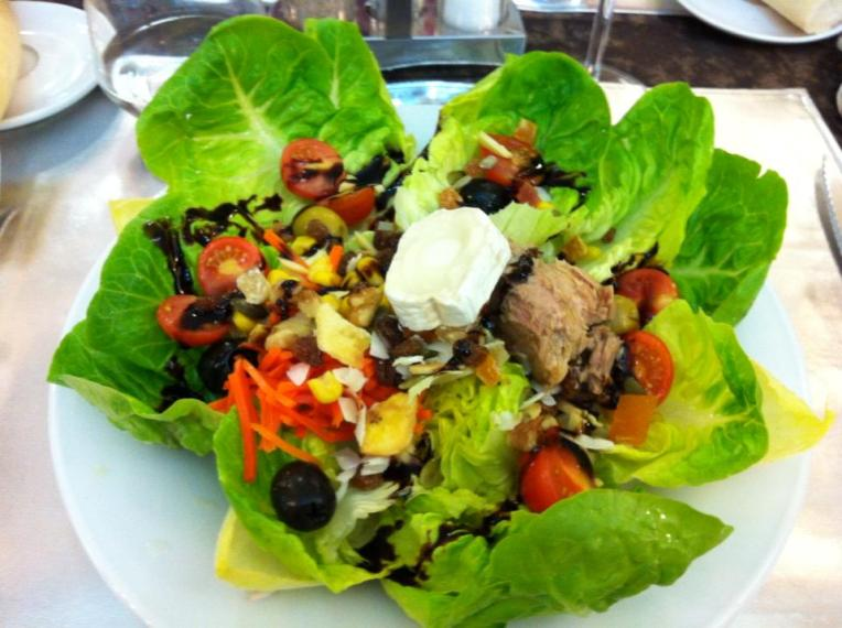 Salad that came with dinner as part of the pilgrim menu in Estella