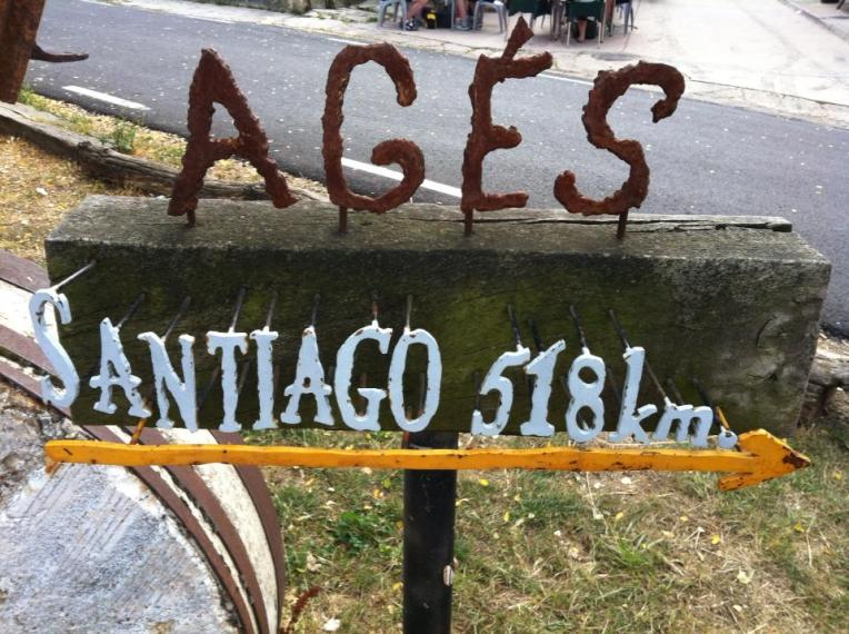 Sign for Ages showing distance to Santiago
