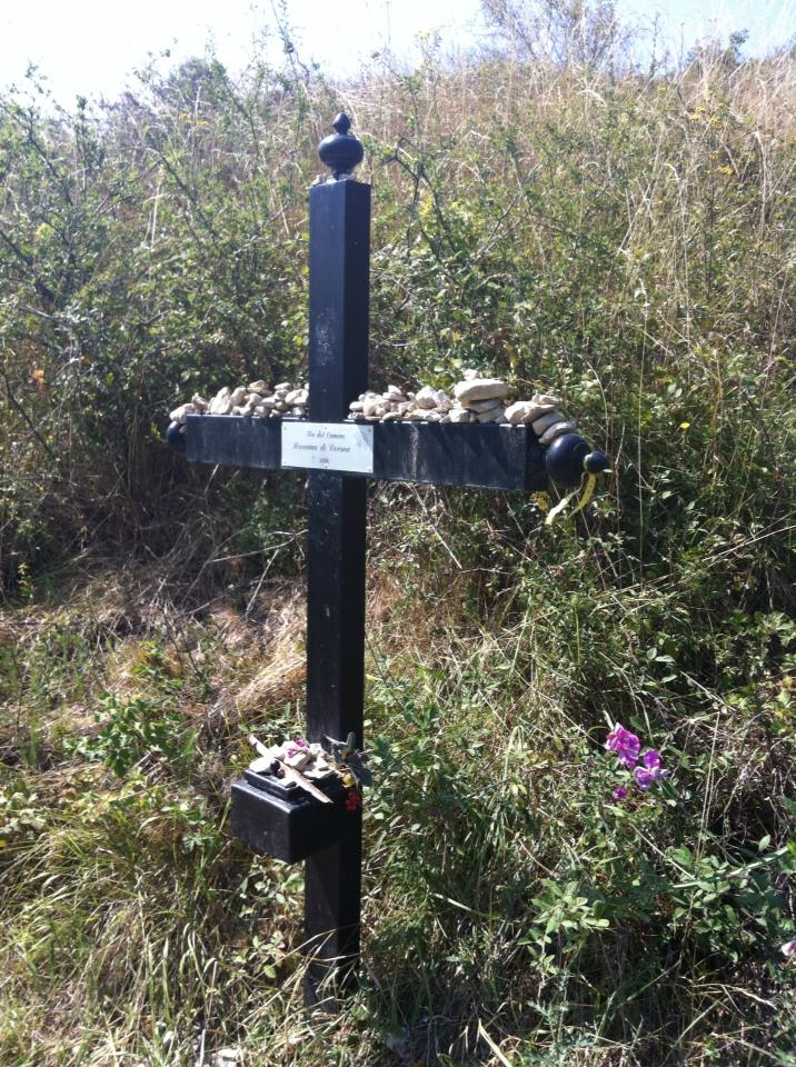 Camino grave marker, we saw far too many of these