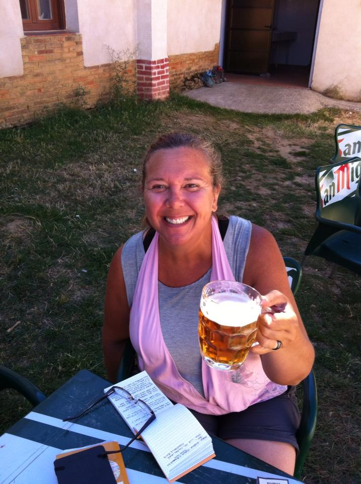 End of day beer at our albergue in Ledigos