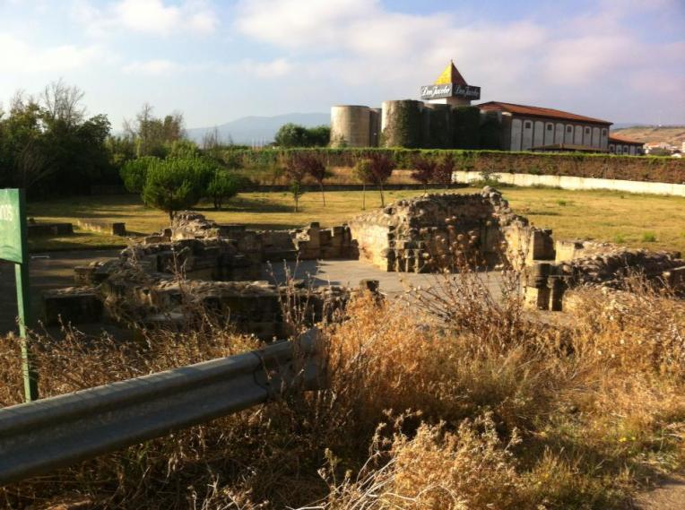Ruins of San Juan de Acre, 12th century, with Don Jacobe winery in background, near Navarette