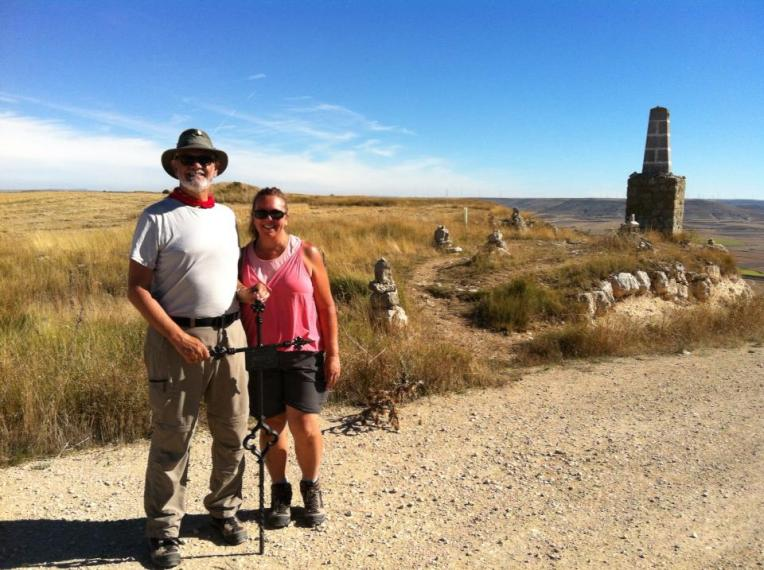 """Alan and Tracy with iron cross at the top of """"Liar's Hill"""""""