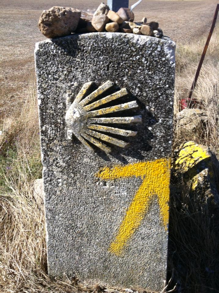 Camino marker near San Bol with stacked rocks