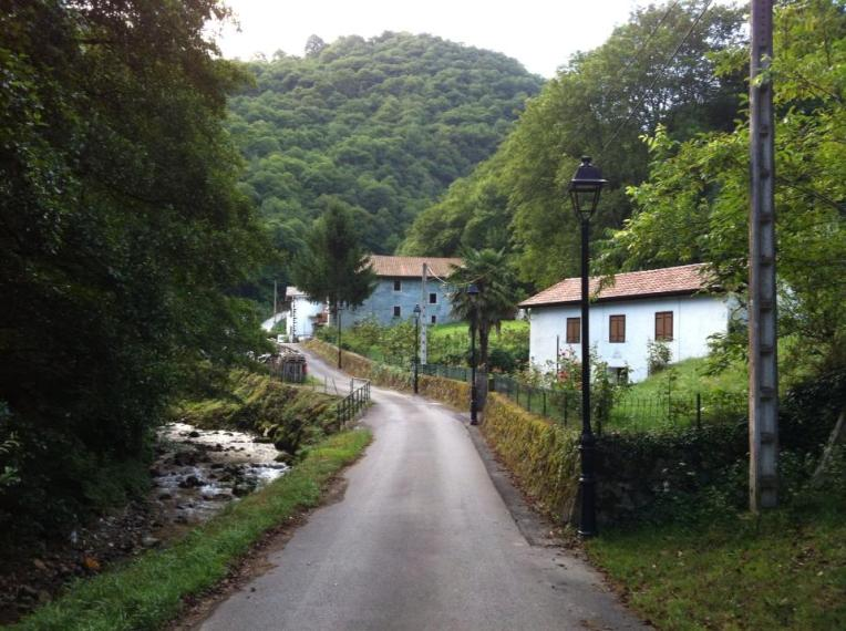 Creek alongside the road near the town of Camino