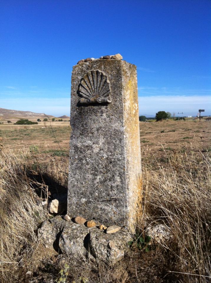 Camino marker turned stone altar
