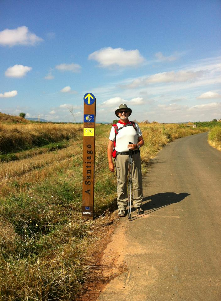 Alan at signpost near Najera