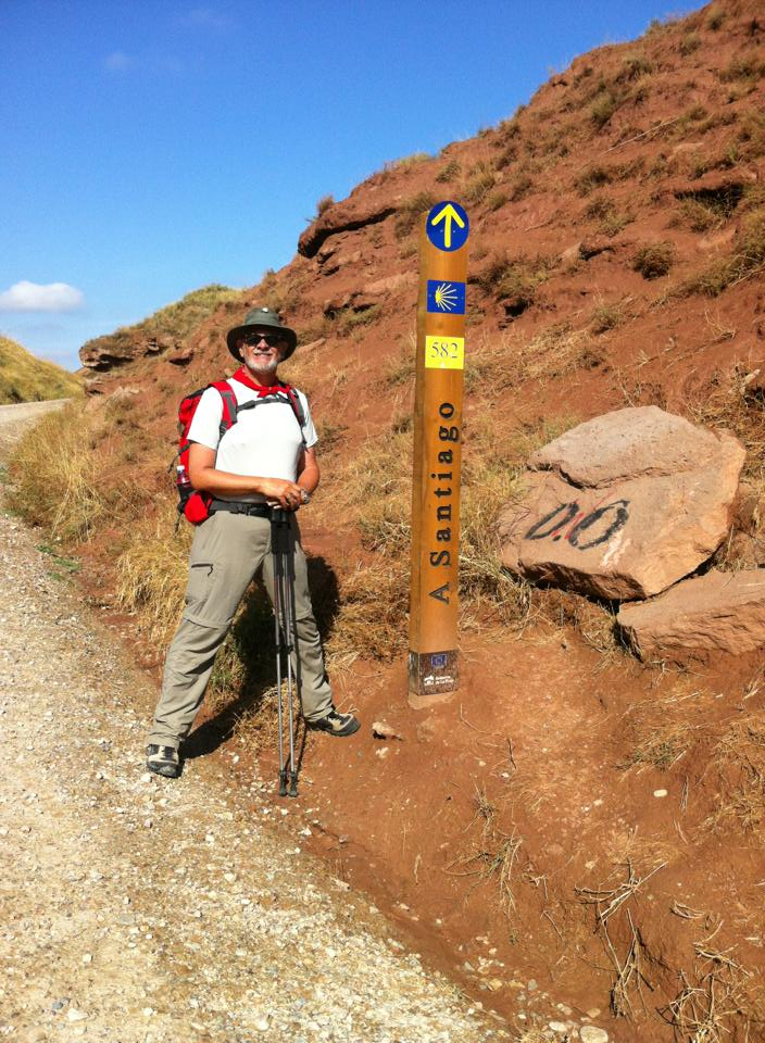 Alan at signpost in the Zona Natural outside of Najera