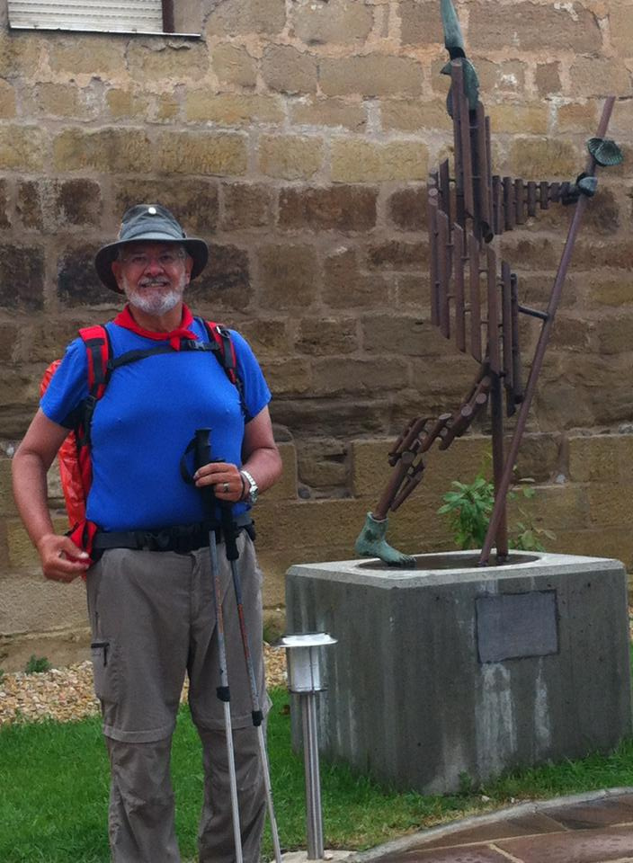 Alan with Camino sculpture in Santo Domingo de la Calzada