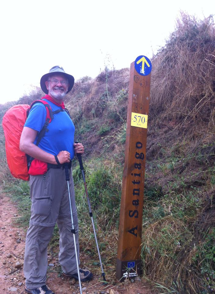 Alan at signpost near Ciruena