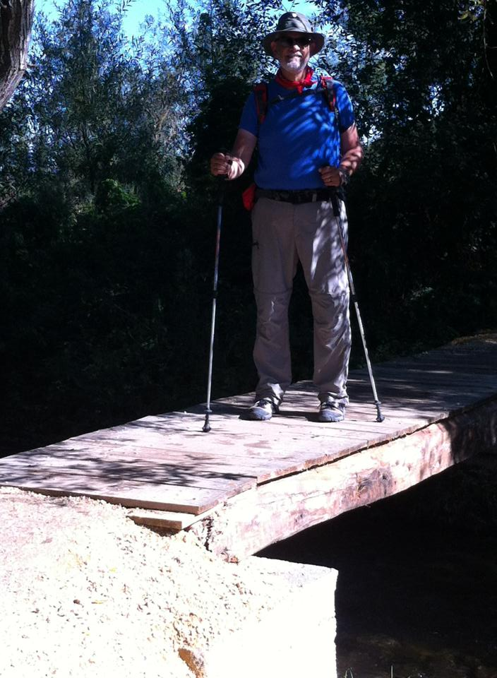 Alan on the footbridge entering Villafranca Montes de Oca
