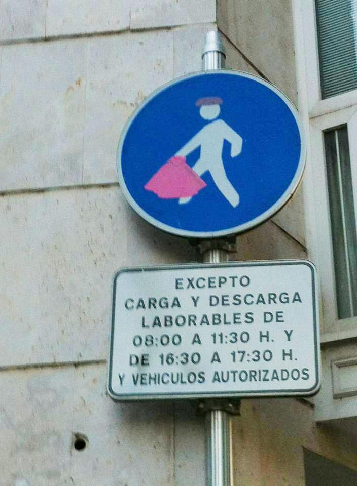 Clever graffiti, pedistrian to bullfighter, Burgos