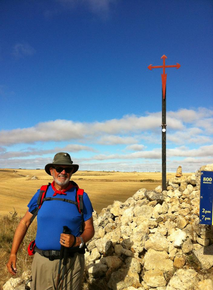 Alan at the Cross of Santiago near Fuente de Praotorre on the Meseta