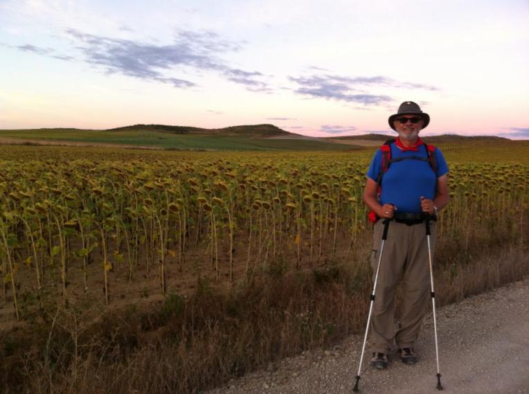 Alan at sunflower fields outside of Itero de la Vega