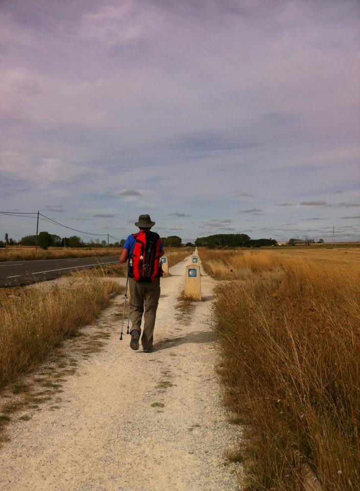 Alan walking along the senda