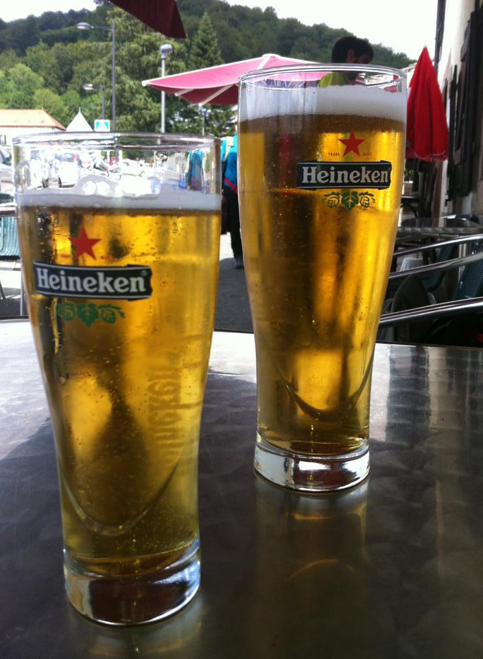 Enjoying a cold beer at La Posada in Roncesvalles